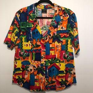 vintage toucan dance button up bold print shirt